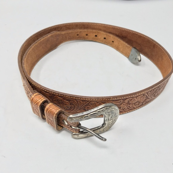 Other - Handtooled Tan Leather Belt  Heavy Silver Buckle